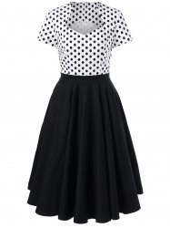 Polka Dot Trim Two Tone Swing Dress