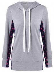 Polka Dot Trim Drawstring Hoodie - LIGHT GRAY M
