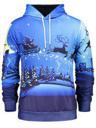 Long Sleeve Pocket Front Christmas Hoodie - BLUE 3XL