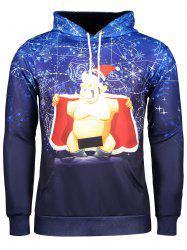 Long Sleeve Funny Christmas Patterned Hoodies - BLUE