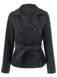 Hooded Belted Pea Coat -