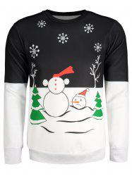 Snowman Tree Snowflake Printed Color Block Long Sleeve Sweatshirt