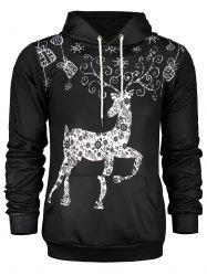 Deer Print Pocket Front Christmas Black Hoodie Mens