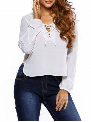 Lace Up Side Slit Blouse