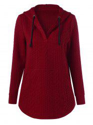 Pullover Drawstring Cable Knit Hoodie -