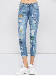 Patched Capri Distressed Jeans Outfits - LIGHT BLUE