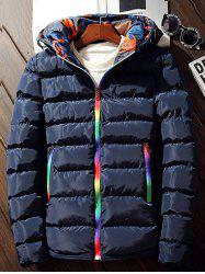 Pocket Rainbow Zipper Hooded Padded Jacket