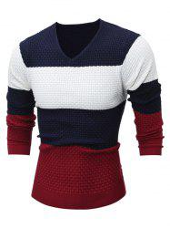 Textured V Neck Color Block Sweater -