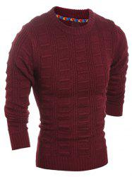 Slim Fit Crew Neck Patterned Knit Sweater
