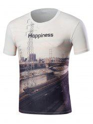 3D Railway Print Short Sleeve T-Shirt - WHITE