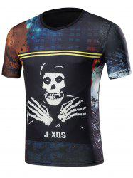 Short Sleeve 3D Skull Graphic Print T-Shirt