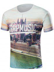 City View 3D Print Round Neck T-Shirt -