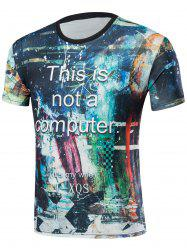 Short Sleeve Abstract Print T-Shirt - COLORMIX M
