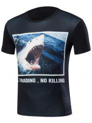 Round Neck 3D Shark Print T-Shirt -