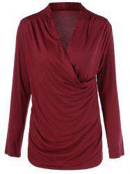 Long Sleeves Ruched Surplice T-Shirt -