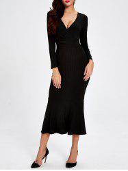 Plunge Trumpet Long Jumper Dress - BLACK