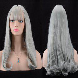 Long Fluffy Full Bang Slightly Curled Synthetic Wig