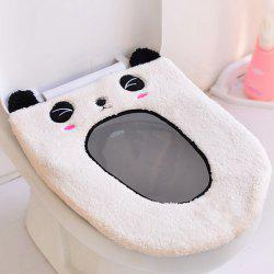 Cartoon Panda Oval Washable Short Plush Toilet Seat Cover -