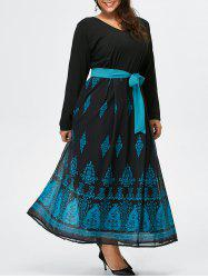 Plus Size Belt Long Sleeve Printed Maxi Dress