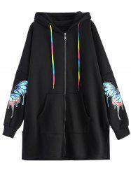 Colourful Butterfly Print Hooded Coat -