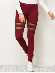 High Waist Mesh Insert Running Leggings - DEEP RED