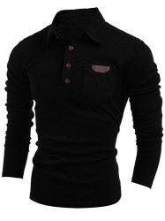 Buttoned Long Sleeve Pocket T-Shirt - BLACK