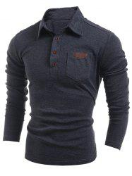 Buttoned Long Sleeve Pocket T-Shirt - DEEP GRAY