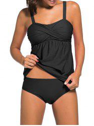 Push Up Twist Tankini Set - BLACK