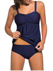 Ensemble push-up Twist Tankini - Bleu Foncé 3XL