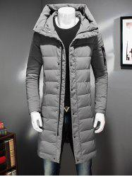 Zippered Pocket Longline Hooded Padded Coat