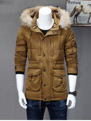 Drawstring Quilted Hooded Down Coat