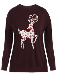 Plus Size Elk Print Christmas Sweatshirt -