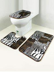 Leopard Pattern Bath Rug and Mats Sets 3 Pieces -