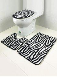 Stripe Pattern Coral Fleece Antislip Bath Rug and Mats Sets