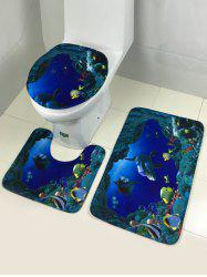 Bathroom Sea World Antislip 3Pcs Toilet Lid Cover and Bath Mats - BLUE