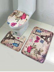 Ensemble 3Pcs  Couverture de toilettes Pedestal Tapiset moquette tour rose - Multicolore