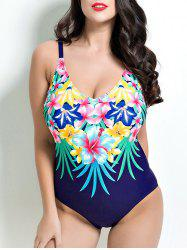 Open Back Floral One-Piece Swimwear