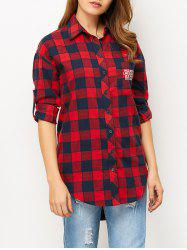 High-Low Letter Checked Shirt