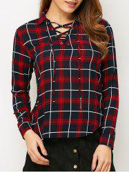 Lace-Up Checked Fitting Shirt -