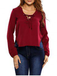 Side Slit Lace Up Blouse -