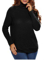 Funnel Neck Ribbed Pullover Sweater -