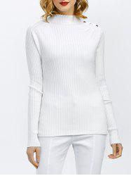 High Neck Ribbed Button Design Sweater -