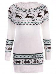Christmas Reindeer Pattern Tunic Raglan Sleeve Sweater