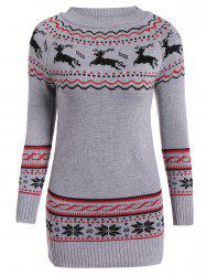 Christmas Reindeer Pattern Tunic Raglan Sleeve Sweater -