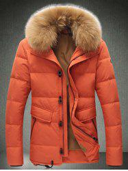 Faux Fur Trim Drawstring Single Breasted Down Jacket
