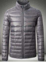 Stand Collar Zip Up Slimming Down Jacket