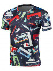 Crew Neck Short Sleeve Cassette Print Tee - COLORMIX 2XL
