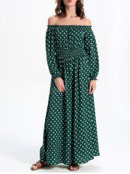 Polka Dot Off-The-Shoulder Casual Maxi Dress -
