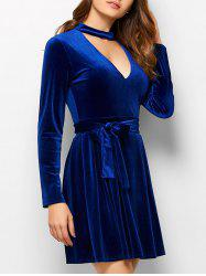 Choker Velvet Belted Mini Dress - BLUE