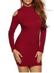 High Neck Cold Shoulder Ribbed Fitted Jumper Dress